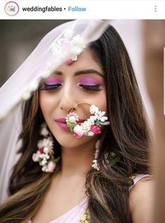 Flower Jewellery For Mehndi, Flower Jewelry, Mehndi Flower, Indian Headpiece, Bridal Nose Ring, Nath Bridal, Bridal Eye Makeup, Wedding Makeup, Bridal Photoshoot