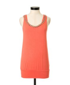chain necklace tankchain necklace tank, BRGHT CORAL