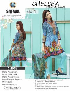 Safwa Brand - Price PKR2399.00 only - Free Delivery! - Cash on Delivery - 30 Days Returns - CA-004 - CHELSEA COLLECTION - 3 PIECE SUIT  #safwa #pakistani #digital #shalwarkameez #clothing #dresses #shoponline #ladiesclothing #brand #onlineshopping