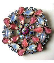 Vintage Rhinestone Brooch  Big and Beautiful AB Pink and Blue Art Glass