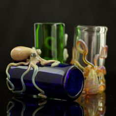 Octopus Shot Glass - So Cool! You can choose from glass color choices and choices of color for octopus!