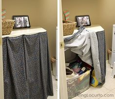 Laundry Room Organizing Ideas. Attach fabric to counter top or table to hide junk.