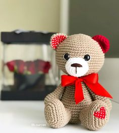 Embroidery for Beginners & Embroidery Stitches & Embroidery Patterns & Embroidery Funny & Machine Embroidery Crochet Bear, Crochet Animals, Crochet Toys, Amigurumi Patterns, Amigurumi Doll, Crochet Patterns, Amigurumi For Beginners, Ear Warmer Headband, Embroidered Pillowcases