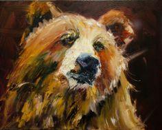 ARTOUTWEST BEAR WILDLIFE ANIMAL ART OIL PAINTING BY Diane Whitehead, painting by artist Diane Whitehead