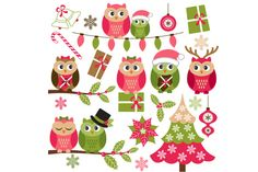 Christmas Owls by LoveGraphicDesign on Creative Market