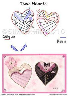 Two Hearts Iris Folding Pattern on Craftsuprint designed by Silvia Griffin… Iris Folding Templates, Iris Paper Folding, Iris Folding Pattern, Wedding Shower Cards, Wedding Cards, Wedding Showers, Paper Cards, Folded Cards, Card Patterns