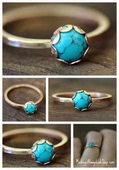 Turquoise and 14k gold filled ring by Monkeys Always Look monkeysalwayslookshop.com