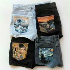 I LOVE THESE SHORTS! You could paint the pockets yourself or use transfer paper to create a similar effect...