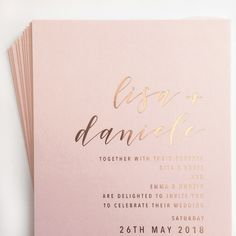 Rose gold foil & blush wedding invitations || @whiteinkdesignco