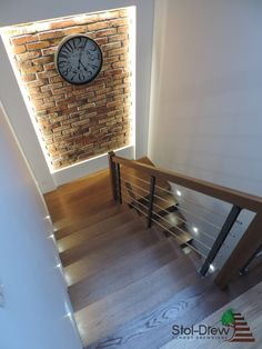 Home Stairs Design, Stair Railing Design, Interior Stairs, Home Interior Design, Interior Decorating, Staircase Lighting Ideas, Modern Staircase, House Stairs, Living Room With Stairs