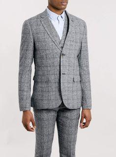 Premium Grey Checked Heritage Three Piece Suit - Tweed Suits - Suits - TOPMAN