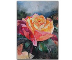 Remember Me Rose Painting Original Art Watercolor by MixmatchGIFTS