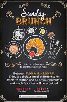 Brunch Restaurant Design Inspiration 21 Ideas For 2019 Restaurant Advertising, Restaurant Poster, Restaurant Menu Design, Retro Advertising, Brunch Decor, Brunch Menu, Event Poster Design, Flyer Design, Best Sunday Brunch