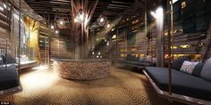 Natural building materials combine with sleek, modern designs in the area which will greet...