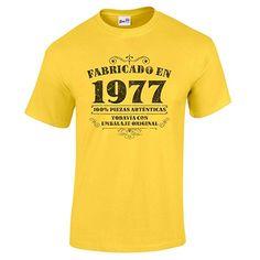 Camiseta de hombre para regalo de 40 cumpleaños Manufactured 1977 en amarillo talla S