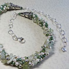 Freshwater Pearls  Amazonite Chips Silver Beads Kumihimo Necklace - Seaside