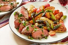 Seared Steaks & Salsa Verde with Fingerling Potatoes, Asparagus, & Radishes