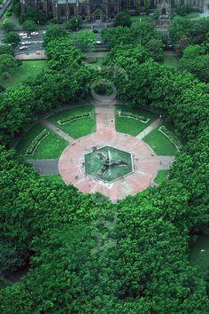 aerial view Archibald Fountain, Hyde Park, Sydney.