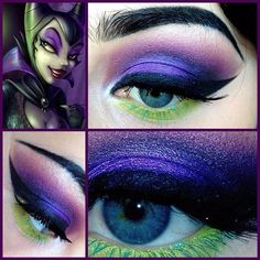 Maleficent make up- this may just need to happen for girls night!!! I can't freakin wait- May 30th- get here NOW!!!! @Leona Beutel Mostowski @shay Barela @SkullyMomP Top 10 Halloween Costumes, Halloween Make, Halloween Face Makeup, Skeleton Costumes, Vintage Halloween, Maleficent Makeup, Maleficent Costume, Disney Eye Makeup, Maleficent Halloween