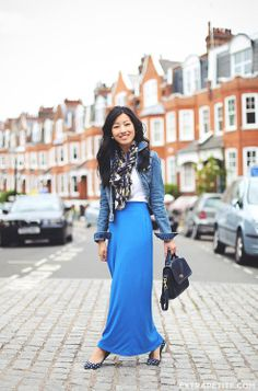 Comfort Traveling: Maxi Skirt + Denim Jacket (& London Faves)  by Extra Petite