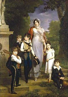 Retrato de Lannes mariscala, duquesa de Montebello con sus hijos, óleo sobre lienzo de Marguerite Gérard (1761-1837, France)