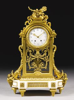 A large gilt-bronze and white marble mantel clock, French, circa 1890 | Lot | Sotheby's