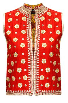 SURABHI ARYA Red gota patti embroidered rajasthani jacket available only at Pernia's Pop-Up Shop.
