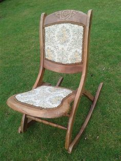 Lovely Vintage Childs Rocking Chair Great Condition Original Fabric Foldable by LoveYourVintageHome on Etsy Vintage Furniture For Sale, Trailer Decor, Rocking Chairs, Hand Painted Furniture, The Originals, Fabric, Handmade, Stuff To Buy, Etsy