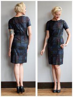 1960s Dress // Building Blocks Sheath Dress // by dethrosevintage