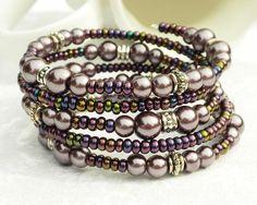 Purple Pearl Bracelet Memory Wire 5 Wraps by ReneeBrownsDesigns, $21.00