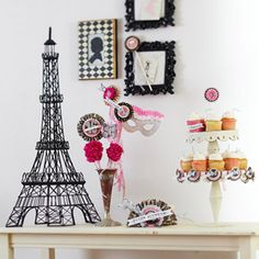 Parisian Birthday Party  Pink, white, and black accents, as well as elegant Parisian embellishments, are the key to a sweet birthday party for your teenage girl or Sweet 16.