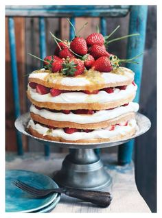 strawberry and passionfruit sponge cake