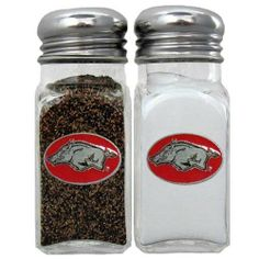 NCAA Arkansas Razorbacks Salt & Pepper Shakers by Siskiyou. $17.16. Stylish glass salt and pepper shaker set featuring an Arkansas Razorbacks dome with metal border. This is a great addition to any tailgating event, backyard BBQ or kitchen decor.