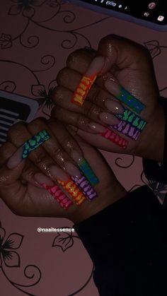 Acrylic Nails Coffin Pink, Long Square Acrylic Nails, Simple Acrylic Nails, Long Square Nails, Drip Nails, Glow Nails, Edgy Nails, Swag Nails, Jolie Nail Art
