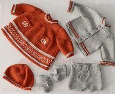 Breien poppenkleertjes patronen - Prachtige herfstkleding in roestbruin, grijs en wit