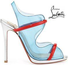 Christian Louboutin Spring 2014 Aqua Ronda PVC Sandal - Buy Online - Designer Sandals