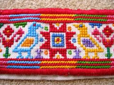 Detail of an embroidered collar for a man's traditional Ukrainian 'sorochka', or shirt, in the style of the village of Pidvysoke, beside the Horodenka region of Carpathian Western Ukraine (Hand embroidered by Dave Melnychuk)