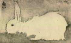 'Lapin Blanc' by Jan Mankes, 1911 Hare Pictures, Lapin Art, Year Of The Rabbit, Rabbit Art, Rabbit Hole, Illustration Art, Illustrations, Bunny Art, Dutch Painters
