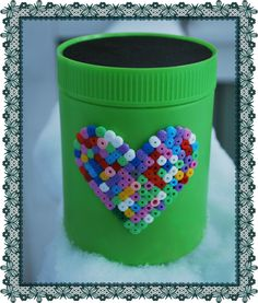 Recycle: Vanish container upgraded with Hama beads Hama Beads, The Secret, Recycling, Container, Homemade, Home Made, Upcycle, Hama Bead, Hand Made