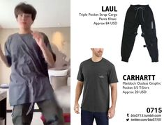 Laul - Triple pocket strap cargo pants khaki Carhartt - Maddock outlast graphic pocket s/s t-shirt Kpop Fashion Outfits, Celebrity Outfits, Korean Outfits, Bts Doll, Bts Clothing, Bts Inspired Outfits, Carhartt Shirts, Style Finder, Cosplay Outfits