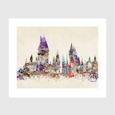 hogwarts castle school of magic. harry potter by oxleystudio