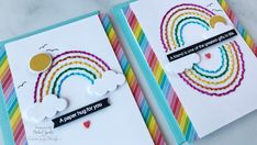 Stitched Rainbow Cards