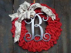 Burlap Wreath - Red Wreath - Valentines Day Wreath - French Burlap Ribbon - Monogram Wreath on Etsy, $72.00