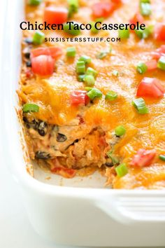We love tacos and most kids love them too. This Chicken Taco Casserole has all the delicious taco taste and is loaded with cheese. Definitely a favorite family recipe! Chicken Taco Casserole, Chicken Tacos, Casserole Recipes, Taco Soup, Zucchini Casserole, Brunch Casserole, Mexican Casserole, Noodle Casserole, Chicken Dips