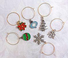 0027  Christmas wine glass charms set of by EarringsBraceletsEtc