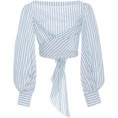 Johanna Ortiz Bahia Twist Cotton Poplin Top ($710) ❤ liked on Polyvore featuring tops, blouses, tie blouse, puffed sleeve blouse, puff sleeve top, blue blouse and boat neck tops