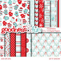 Enjoy the winter with the Let It Snow digital papers set. Great for scrapbooking, invitations and much much more!   You'll receive fourteen 12x12 300dpi quality JPG files.