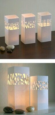 DIY With thick paper + Candle Impressions flameless votives or tea lights. All you have to do is cut our your preferred design, fold, tape, and place over the flameless candle - it's that easy!