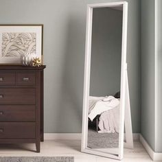in bedroom ideas full length Wrought Studio Middlewich Modern & Contemporary Full Length Mirror White Full Length Mirrors, White Mirror, Full Length Mirror With Stand, Tall Mirror, Ikea Mirror, Ikea Bedroom, Bedroom Decor, Bedroom Ideas, Wall Decor