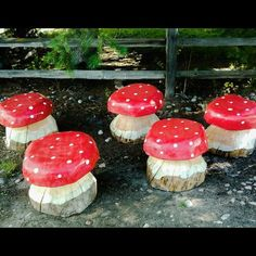 Carved Wooden Mushrooms - yard / garden art - stools - toadstools - mushroom art
